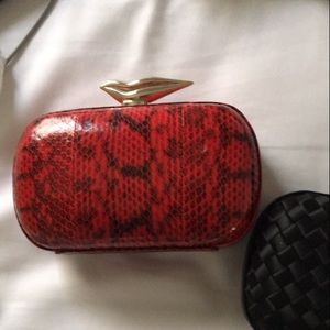 DVF FLIRTY LIPS red snake clutch!!!